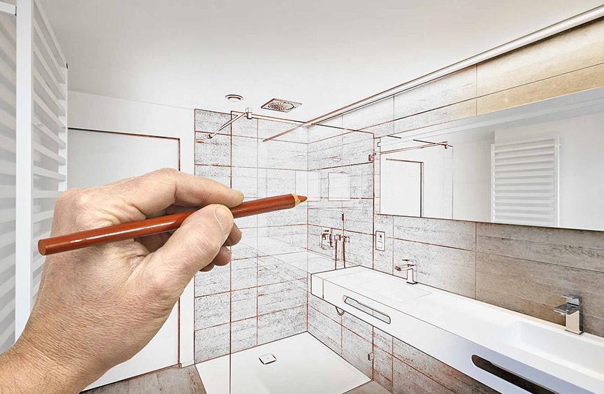 Zeichnung einer Bad Sanierung